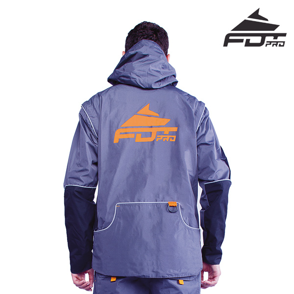 FDT Professional Dog Trainer Jacket of Grey Color with Handy Side Pockets