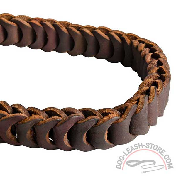 Handmade Leather Braid of Dog Lead