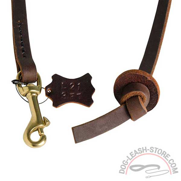 Sturdy Brass Snap Hook of Leather Dog Lead