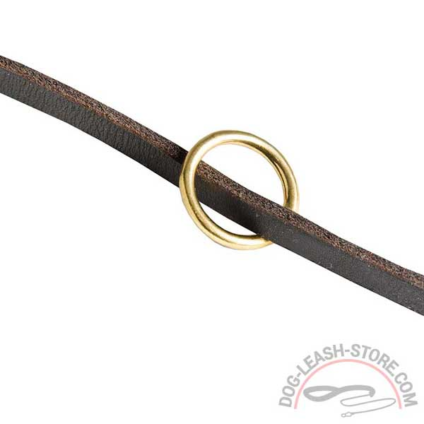 Adjustable Dog Leash Leather Brass Ring