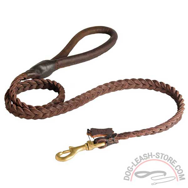 Brown Leather Dog Lead with Stitched Handle