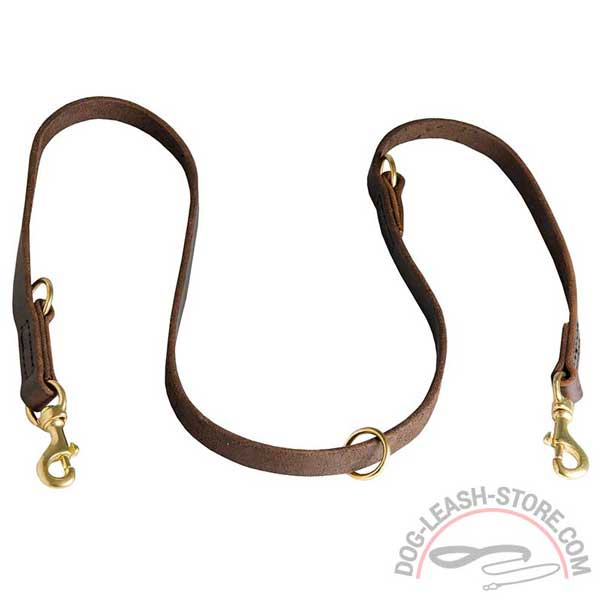Dog Coupler Leash Leather Safe