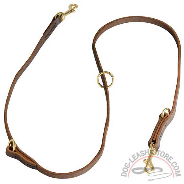 Leather Multimode Dog Leash Floating Ring