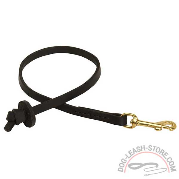 Short Black Leather Dog Lead