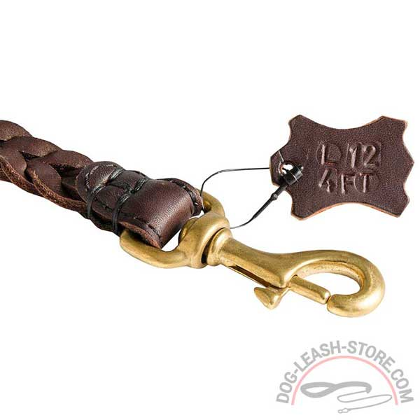 Brass Rustproof Snap Hook of Leather Dog Leash