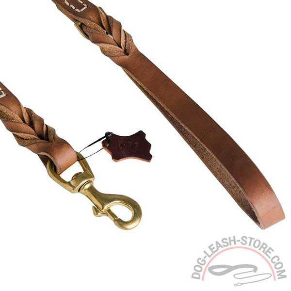 Rustproof Brass Snap Hook of Leather Dog Leash