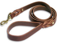 Handcrafted brown leather dog leash for walking and tracking L-3