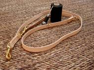 Leather dog leash multi functional - 3/4 inch on 7 foot