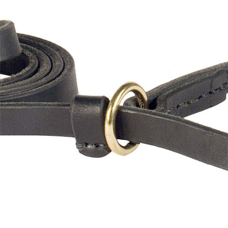 Handcrafted leather dog leash width 1/2 inch with solid brass